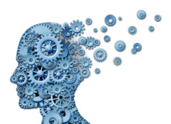 brain with gears flying up and out - alzheimers